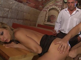 Kristi Lust gets fucked by two of her coworkers after closing period