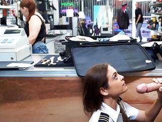 Latina stewardess drag inflate big dick in pawnshop