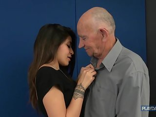 The teach of grandpa's HUGE dick