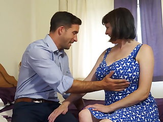 Grown-up busty natural mom fucks strong boy