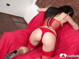 Charming busty slut penetrates herself wide a toy
