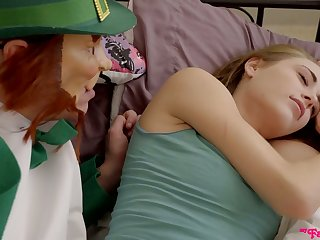 Stepdad wakes up step daughter Kyler Quinn with his hard and big dick