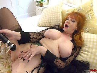Redhead of age Red XXX gets gone in all directions her toy