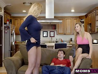 Flaming ash-blonde aunt-in-law, Brandi Treasure is permanently providing unconforming fuck-fest lessons while having casual three ways