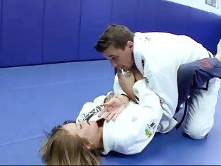Ultra-Kinky Karate college girls smashes alongside her trainer after a superb karate boxing-match