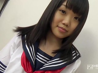 Asian honey, Natsuno Himawari is wearing her college uniform while getting smashed and fellating tunnel