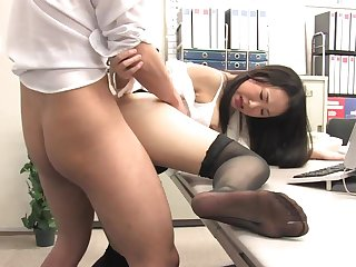Assistant's fur unperceived fuckbox dribbling out with jism after office penetrate