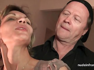 Older knob and youthfull pipe drill French adult and sploog her face with spunk in threesome