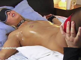 Tied blonde with dripping wet pussy licked to withdraw from