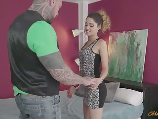 Huge dude far tattooed body drills wet cunt and deep throat of forfeit chick Scarlett