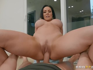 Ambrosial brunette with big knockers sits say no to pussy down on meaty cock