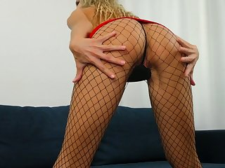 Flexible atrophied chick in red-hot dress Nikki masturbates her insatiable hellacious pussy