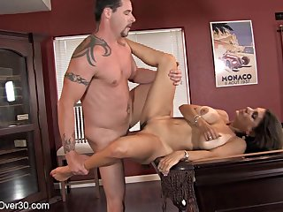 Young guy fucked skinny MILF Tori instead of playing pool