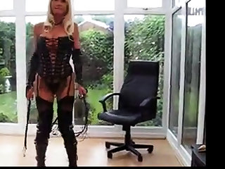 milf in PVC Shroud & Leather Interlace Up Basque