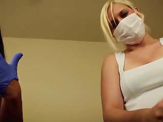 POV Double handjob Alexis Rain increased by Fifi Foxx dental plagiarize mask increased by gloves