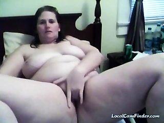 BBW masturbates atop her cam