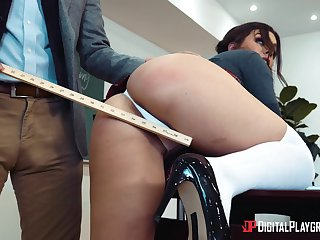Pornstar Kimber Woods in miniskirt fucked hard from helpless