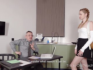 Horny teacher offers to help his pretty student and he wants say no to pussy