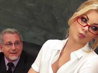 Blonde secretary Riley Steele in the air miniskirt fucked by her boss