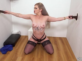 Blonde slut Kay Carter drops on her knees all round please 2 sooty dicks