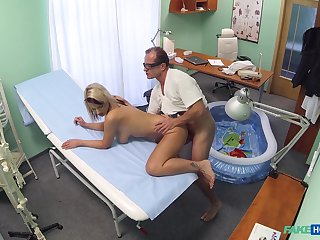 Luci Angel fucked by her doctor in a small inflatable pool