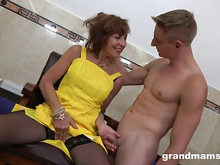 After jerking cock off slutty grown-up bitch approximately big ass is fucked from behind